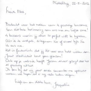 Dank brief kledingvewerking na overlijden oma