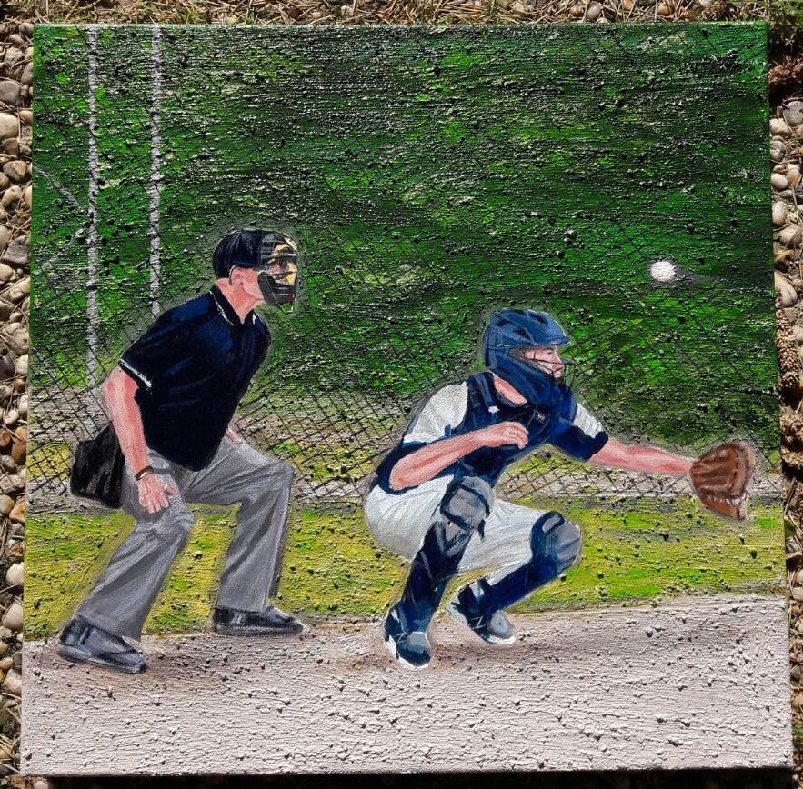 Schilderij van honkballende vader